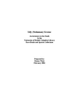 Lily (Steinman) Greene Fonds