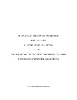 H. Colin Slim Stravinsky collection