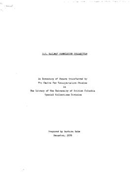 British Columbia Railway Commission research collection